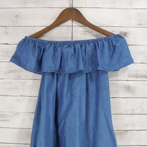 🌹Chambray off shoulder dress